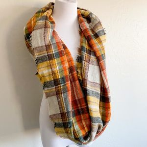 Pumpkin Spice Plaid Fall Infinity Scarf Wool Blend